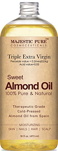 Majestic Pure Sweet Almond Oil, Super Triple A Grade Quality, 100% Pure and Natural from Spain, Cold Pressed , 16 fl oz. (Natural Almond Oil compare prices)