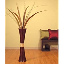32 in.Tall Trumpet Bamboo Vase - Brown