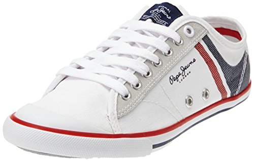 Pepe Jeans London TENIS PRINT, Low-Top Sneaker uomo, Bianco (Weiß (800WHITE)), 41