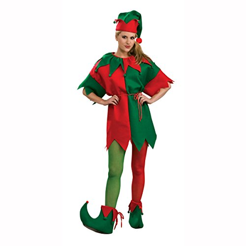 Elf Red & Green Adult Costume Tights Size: Large