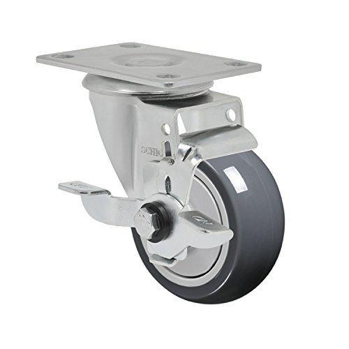 """Schioppa L12 Series, Gla 312 Tbe Sl, 3 X 1-1/4"""" Swivel Caster With Wheel Lock Brake, Non-Marking Thermoplastic Rubber Precision Ball Bearing Wheel, 150 Lbs, Plate 3-3/4 X 2-1/2"""" (Bolt Holes 3 X 1-3/4"""") front-391068"""
