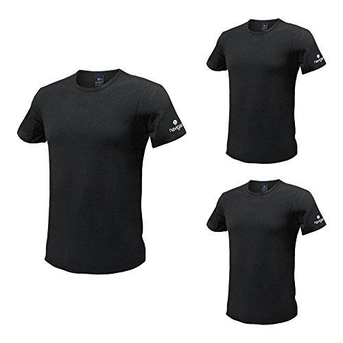 Set 3 T-Shirt Uomo NAVIGARE Cotone Bielastico Bianco / Nero Girogola e V. ( Nero Girogola - 3 / S)