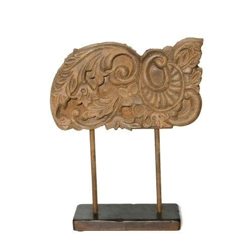 Hand Carved Wooden Accent On Stand in Natural