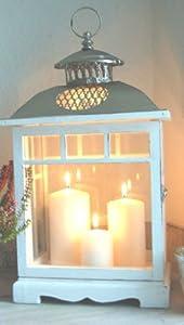 gro e landhaus laterne windlicht in shabby chic wei aus holz und metall k che. Black Bedroom Furniture Sets. Home Design Ideas