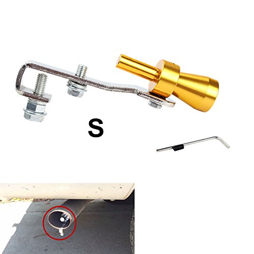 Aluminum Turbo Sound Exhaust Muffler Pipe Whistle Car Blow off valve BOV Tip Simulator Whistler Size S Gold (Whistls compare prices)