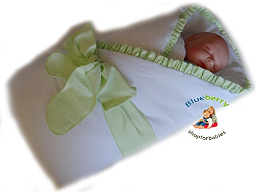 Blueberry Shop Luxury Warm Newborn Swaddle Wrap Blanket Duvet Sleeping Bag Satin Cotton Green