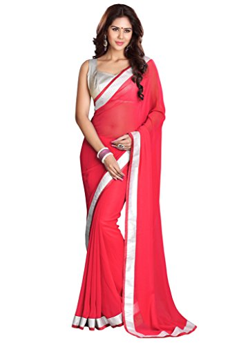 Sourbh Sarees Women's Peach Faux Georgette Saree with Unstitched Blouse Piece