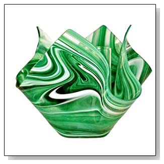 Radiance Glass Vase Finish: Kelly Green and White