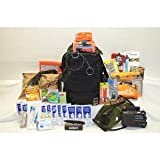 Urban Survival Bag II - Bug Out Bag includes FOX Tactical Advanced 3-Day Combat Pack, MRE Star MREs, SOS Food Lab 2400 Calorie Bars and emergency drinking water, LifeStraw Personal Water Filter, Eberlestock 2 Liter Bladder / Hydration System, Adventure Medical Kits Sportsman Series Whitetail First Aid Kit, CRKT M16-12ZLEK Law Enforcement Folder with window breaker and seatbelt cutter, Kaito Voyager KA500 Dynamo / solar powered NOAA weather radio with LED flashlight, charger, AC adapter and more; Ultimate Survival Technologies UST eQ3 LED Headlamp, Smiths Pocket Pal X2 Sharpener and Survival Tool, Best Glide ASE Adventurer Spiral Camp Saw and Pocket Credit Card Camper and Survival Tool, heavy duty double palm leather work gloves, waterproof notebook paper, Gladding 550 paracord, Adventure Medical Kits SOL Escape Bivvy Bivy, UST B.A.S.E. All Weather Tarp / Tent, emergency poncho, emergency blanket, Coghlans 36 hour candle, UST BlastMatch and WetFire, Coghlans storm matches, disposable handwarmers, and more