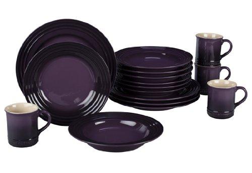 Le Creuset Stoneware 16-Piece Dinnerware Set, Cassis