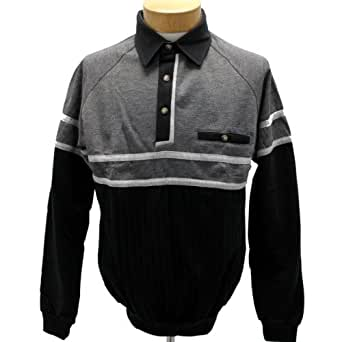 palmland long sleeve french terry banded bottom polo shirt