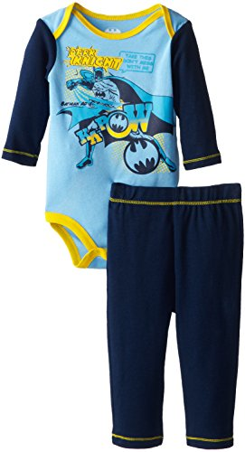 Warner Brothers Baby Baby-Boys Newborn Batman Bodysuit And Pant Set, Blue, 3-6 Months front-993306
