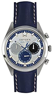 Oxygen Pacific 40 Unisex Quartz Watch with White Dial Analogue Display and Blue Leather Strap EX-SDT-PAC-40-CL-NA