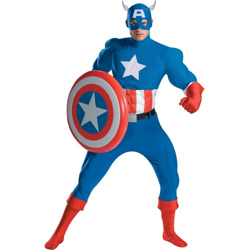 Disguise Mens Captain America Deluxe Adult Muscle Costume