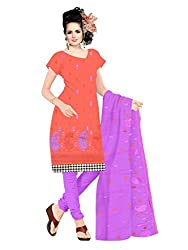 Parinaaz Fashion Orange Cotton Straight unstitched salwar suit
