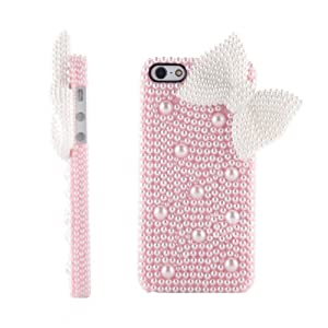 New Luxury Cute 3D Bling Diamond Pearl Bow Butterfly Back Case Cover Skin For iPhone 5 5G 5th