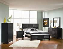 Hot Sale 4pc Queen Size Bedroom Set with Wood Grain in Black Finish