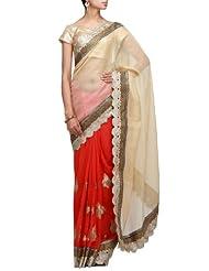 Kalki Fashions Women Beige Chiffon Saree