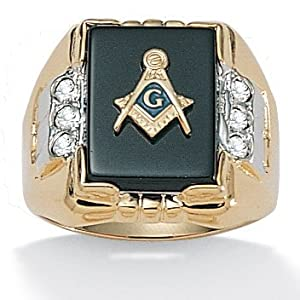 PalmBeach Jewelry Mens Masonic Onyx Ring