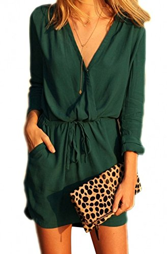 Walant Womens Deep V Neck Loose Casual Tunic Dress Short Shirt Dresses Cotton,Green,S