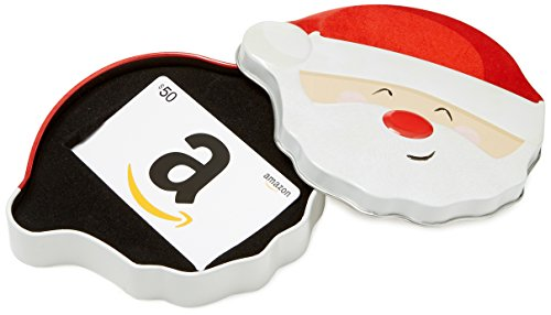 Amazon.com $50 Gift Card in a Santa Smile Tin (Classic White Card Design)