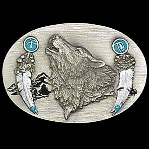 Set of 2 Pewter Belt Buckle - Howling Wolf with Feathers - Pewter Belt Buckle - Buy Set of 2 Pewter Belt Buckle - Howling Wolf with Feathers - Pewter Belt Buckle - Purchase Set of 2 Pewter Belt Buckle - Howling Wolf with Feathers - Pewter Belt Buckle (Siskiyou, Siskiyou Belts, Siskiyou Womens Belts, Apparel, Departments, Accessories, Women's Accessories, Belts, Womens Belts)