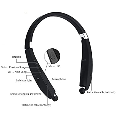Wireless Bluetooth V4.1 Foldable & Retractable Neckband Headphones Wireless Stereo Earbuds for iPhone Samsung HTC Smartphones and More (Black)