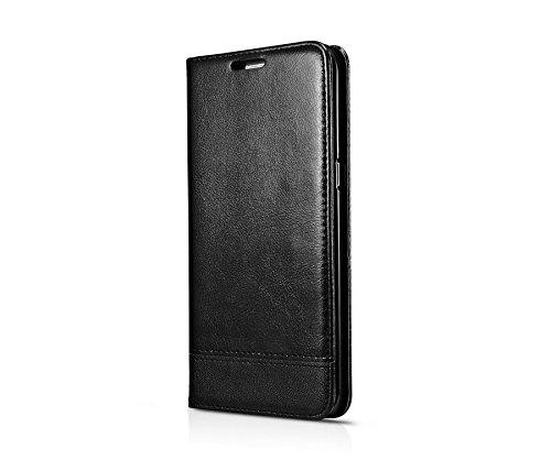 DESOCO Etui de portefeuille Premium [TPU + PU] avec fentes pour cartes Flip Case pour Samsung Galaxy S7 ambiance haut de gamme Wallet(Noir)
