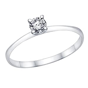 IGI Certified 14k white-gold Round Cut Diamond Engagement Ring (0.22 cttw, D Color, SI3 Clarity) - size 7