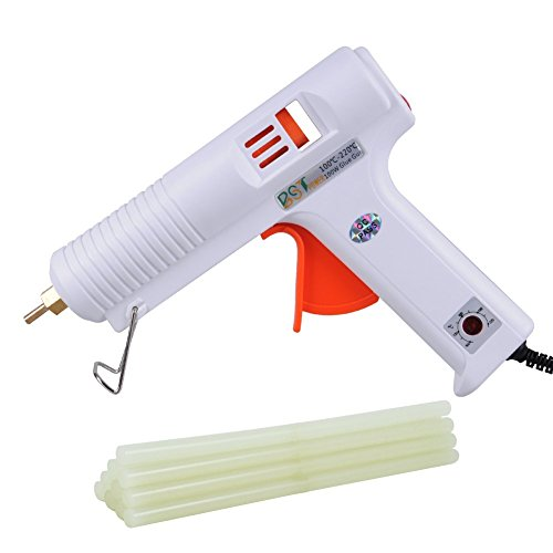 BSTPOWER Glue Gun and Sticks 100W Professional Adjustable Temperature Full Size Hot Melt High and Low Temp + 10pcs Glue Sticks 10.64inch 11mm