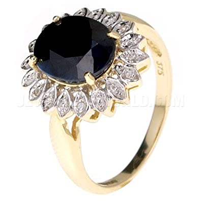 Black Sapphire & Diamond 9ct Gold Oval Ring