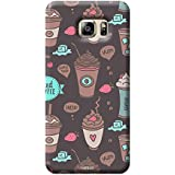 Tecozo Designer Printed Back Cover For Samsung Galaxy S6, Samsung Galaxy S6 Back Cover, Hard Case For Samsung Galaxy S6, Case Cover For Samsung Galaxy S6, (Coffee And Shakes Pattern Design,Pattern)