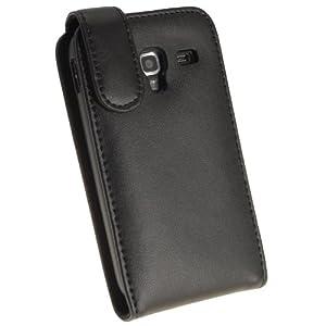 igadgitz Schwarz Leder Tasche Schutzhülle Hülle Etui case für Samsung Galaxy Ace 2 I8160 Android Smartphone Handy + Display Schutzfolie