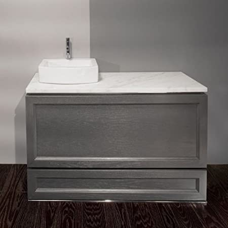 Lacava Palazzo DE110T-WH Bianco Stone Countertop Drilled for Bathroom Sink