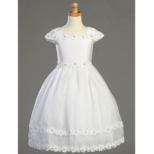 Lito Girls White Flower Rhinestone Satin First Communion Dress 7-14