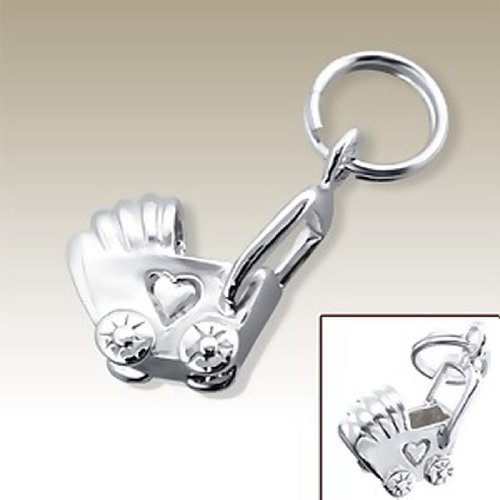 Baby Carriage Charm With Split Ring, Sterling Silver 925, For Charms Bracelet, Necklace (E16056) front-203938