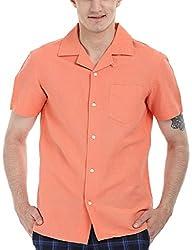 Zobello Men's Solid Camp Linen Shirt(11088B_Cocktail Orange_X-Large)