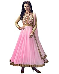 Samay Creation New Pink Net Embroidered Semi-stitched Anarkali Dress Material