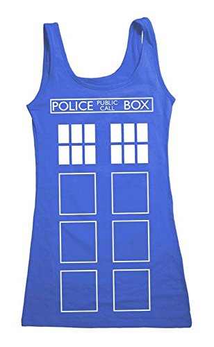 Doctor Who Tardis Front Outline Sommers Tank-Top Shirt Multicolore L