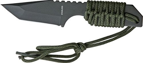 Miscellaneous Small Fixed Blade Knife,3.375in,Tanto Blade,Od Green Cord Wrapped Handle