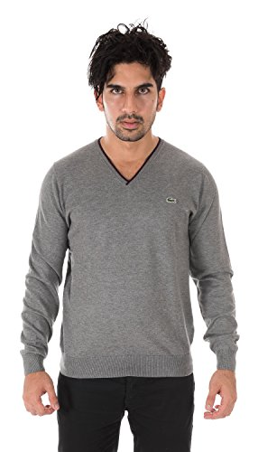 Lacoste TRICOT V-Neck Sweater STONE CHINE/NAVY BLUE-PIN AH3607-51-8TC