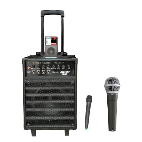 Pyle Speaker And Mic Package - Pwma940Bti 600 Watts Vhf Wireless Portable Pa System W/Microphone,I-Pod Dock & Bluetooth - Pdmic58 Professional Moving Coil Dynamic Handheld Microphone