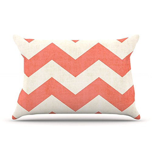 "Kess Inhouse Ann Barnes ""Vintage Coral"" Orange Chevron Standard Pillow Case, 30 By 20-Inch front-939815"