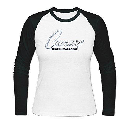 Sadytui Womens Cotton Graphic Chevrolet Camaro Long Baseball T-shirts S White (Chevy Camaro Womens Apparel compare prices)