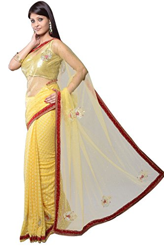 Aarti Saree Aarti Hand Embroidery Latest Party Wear And Wedding Wear Saree 7374 (Multicolor)