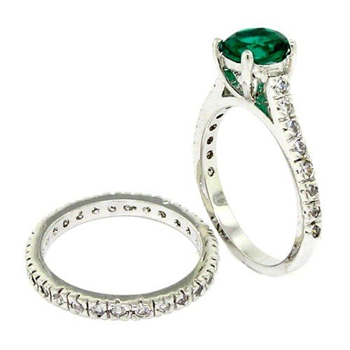 Vintage Wedding Ring Set with Emerald and White CZs