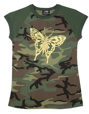 Woodland Gold Foil Butterfly Womens Camouflage T-Shirt
