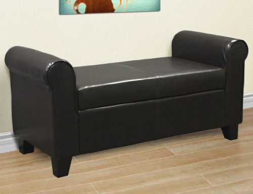 New Elegant Armed Leather Ottoman With Storage Bench Chair