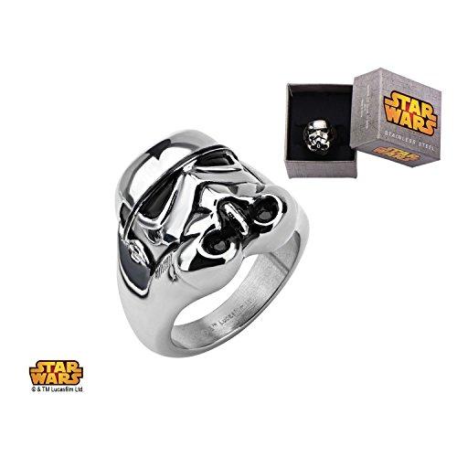 Disney-Costume di Star Wars Stormtrooper-Anello in acciaio INOX, Acciaio inossidabile, 14, cod. SWST3DFR01