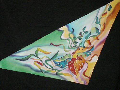 Shawl - Original Painting on Silk (Batik) By Russian Artist Svetlana Titova; longest dimension approx 100cm (40 inches)